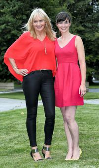 Miriam O'Callaghan and Aoibhinn Ni Shuilleabhain pictured this afternoon at the launch of RTE 1's new season of programming at Montrose. Picture Colin Keegan, Collins Dublin.