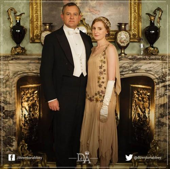 Oops! Someone left a plastic bottle on the mantlepiece in one of ITV's press shots for Downton Abbey season five