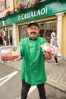 Flying the flag for Irish meat: Noel McNamara, master butcher at the O'Crualaoi shop in Ballincollig, Co Cork. Photo: Provision.
