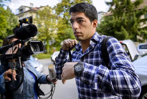 Barcelona's Uruguayan forward Luis Suarez arrives for his appeals before the Court of Arbitration for Sport (CAS) in Lausanne