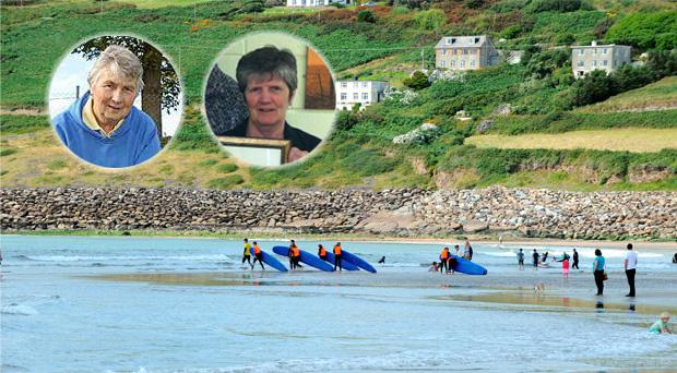 Sisters Paula Buckley (left) and Imelda Carew (right); and Inch Strand in Kerry