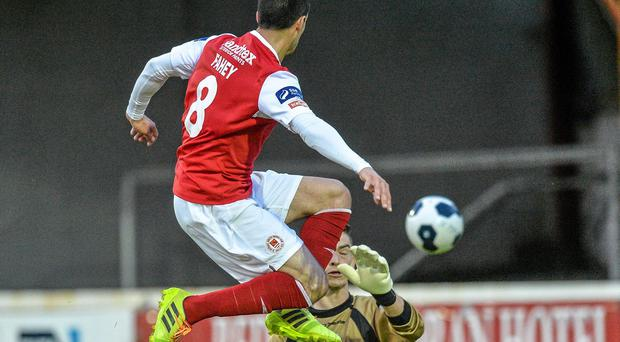 Keith Fahey, St Patrick's Athletic, beats UCD goalkeeper Conor O'Donnell to score his side's first goal