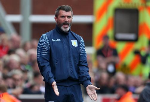 Aston Villa's assistant manager Roy Keane during the Barclays Premier League match at The Britannia Stadium