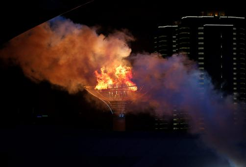 The Olympic cauldron burns during the 2014 Nanjing Youth Olympic Games opening ceremony, in Nanjing, Jiangsu province (REUTERS/Aly Song)