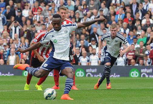West Bromwich Albion's Saido Berahino scores his team's first goal at The Hawthorns. Photo credit: Dave Howarth/PA Wire.