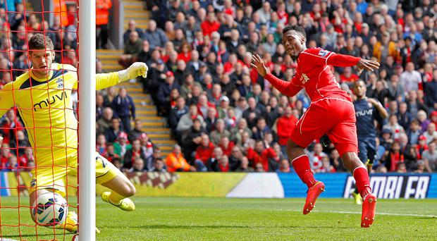 Liverpool's Daniel Sturridge scores his side's winner against Southampton at Anfield.