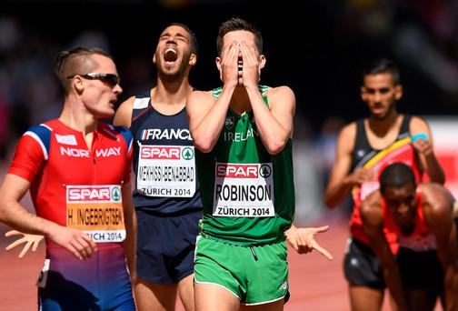 Paul Robinson can't hide his frustration after finishing fourth in the 1,500m final