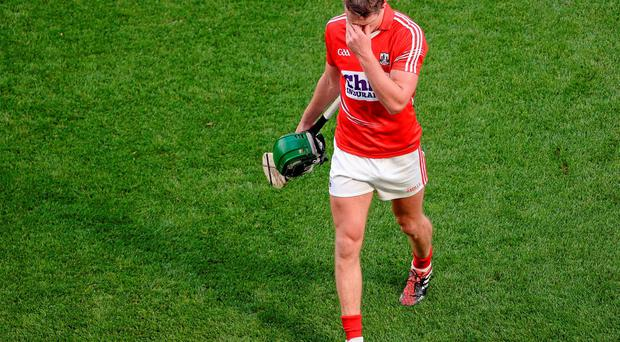 Cork's Aidan Walsh shows his disappointment as he leaves the field during his side's All-Ireland hurling semi-final defeat to Tipperary. Photo: Dáire Brennan / SPORTSFILE