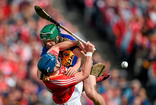 17 August 2014; Paddy Stapleton, Tipperary, in action against Patrick Horgan, Cork. GAA Hurling All-Ireland Senior Championship Semi-Final, Cork v Tipperary. Croke Park, Dublin. Picture credit: Brendan Moran / SPORTSFILE