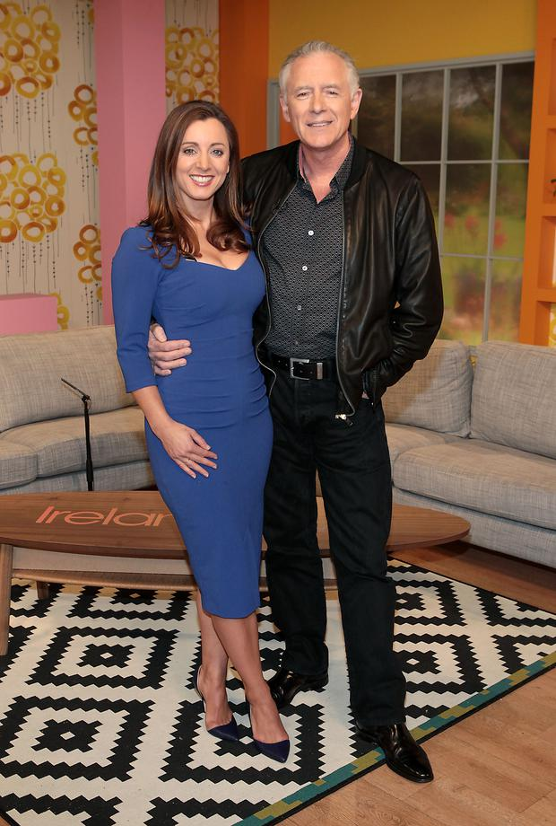 Presenters Sinead Desmond and Mark Cagney pictured at the unveiling of the new Ireland Am set at Tv3 Studio's in Ballymount Dublin Pic:Brian McEvoy No Repro fee for one use