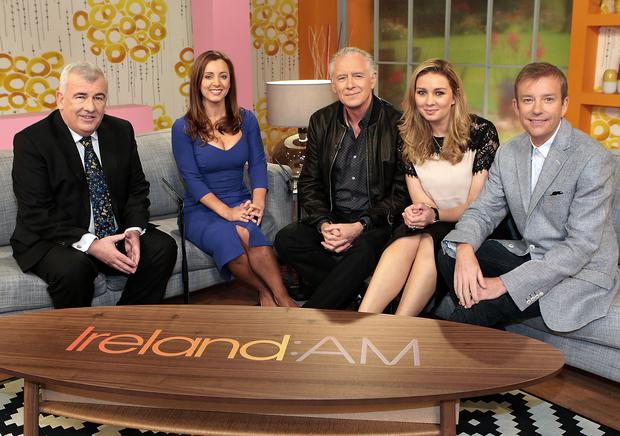 Presenters Aidan Cooney, Sinead Desmond,Mark Cagney,Anna Daly and Alan Hughes pictured at the unveiling of the new Ireland Am set at Tv3 Studio's in Ballymount Dublin Pic:Brian McEvoy No Repro fee for one use