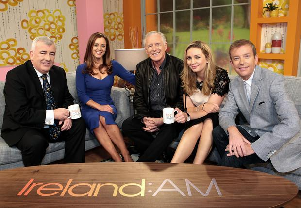 Presenters Aidan Cooney, Sinead Desmond, Mark Cagney, Anna Daly and Alan Hughes pictured at the unveiling of the new Ireland Am set at Tv3 Studio's in Ballymount