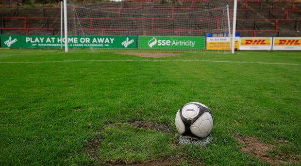 Referee Tomas Connolly called off the Airtricity Premier league clash between Bohemians and Shamrock Rovers due to damage on the surface beside the penalty spot at one of the ends. Picture:Arthur Carron