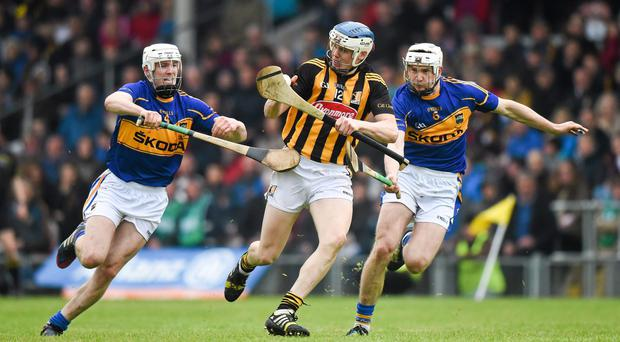 TJ Reid gets ahead of Michael Cahill and Brendan Maher during Kilkenny's victory over Tipperary in this year's League final. Photo: Ray McManus / SPORTSFILE