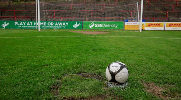 The area of relaid turf surrounding the penalty spot at Dalymount, which was deemed unplayable ahead of last night's game between Bohemians and Shamrock Rovers. Photo: Arthur Carron