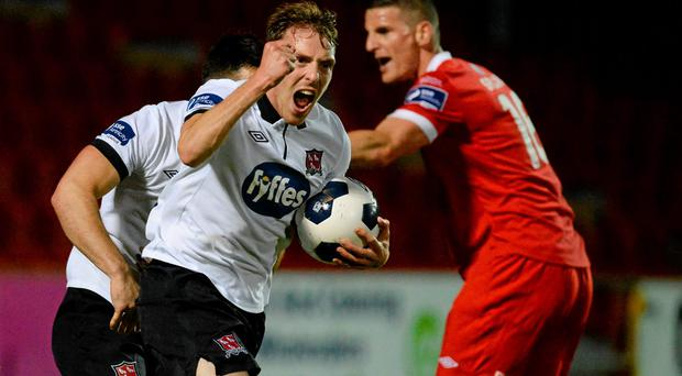 David McMillan celebrates after scoring a crucial equalising goal for Dundalk in their SSE Airtricity League Premier Division match against Sligo Rovers at The Showgrounds. Photo: Oliver McVeigh / SPORTSFILE