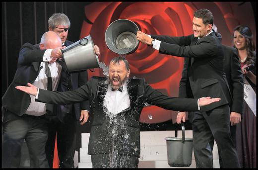 Daithi O'Se took the Ice Bucket Challenge at The Rose of Tralee International Festival at The Dome in Kerry last night. Pic Steve Humphreys 18th August 2014.