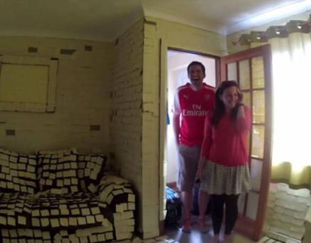 Jamie and Emily Pharro return from their honeymoon to a house covered in Post-It notes (Photo: YouTube)