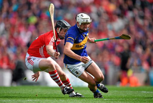 Patrick 'Bonner' Maher turns away from Cork's Shane O'Neill during Tipperary's All-Ireland SHC semi-final win. Photo: Brendan Moran / SPORTSFILE