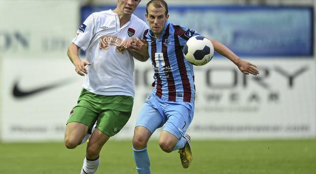 Cork City's Brian Lenihan (left) - pictured in action against Cathal Brady of Drogheda United - looks set for a move to Championship club Brighton. Photo: Paul Mohan / SPORTSFILE