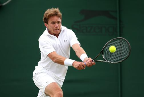 Ireland's Louk Sorensen of Ireland missed his chance to clinch a win against Gastao Elias of Portugal in the first qualifying round of the US Open. Photo: Jordan Mansfield/Getty Images