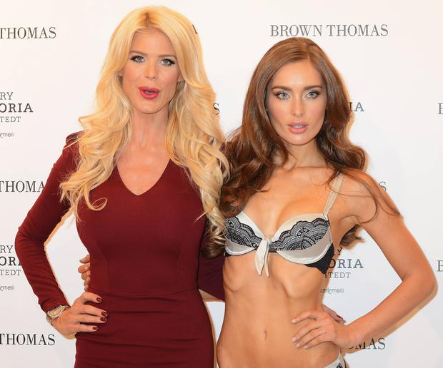 Model Victoria Silvstedt launches her new lingerie collection 'Very Victoria' by Marie Meili at Brown Thomas with model Roz Purcell