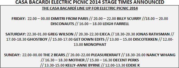Casa Bacardi stage times announced for Electric Picnic