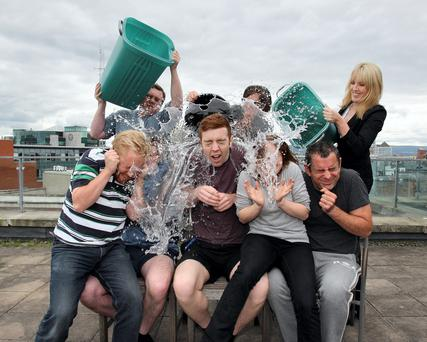 Independent digital staff take the Ice Bucket Challenge. Picture: Tom Burke 20/8/2014