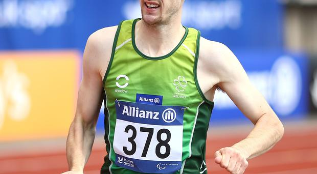 Michael McKillop of Ireland wins the mens 800m T38 final during day two of the IPC Athletics European Championships at Swansea University Sports Village