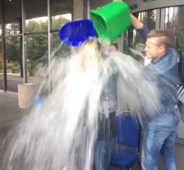 Sharon gets the ice water thrown over her