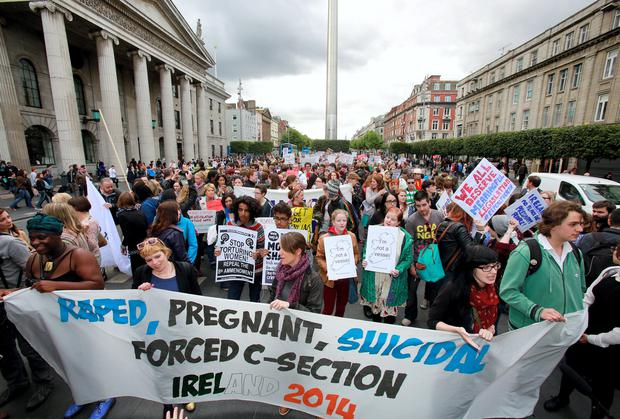 Pro Choice supporters hold a protest on O'Connell Street calling on the Government to repeal the 8th amendment. Picture: Arthur Carron