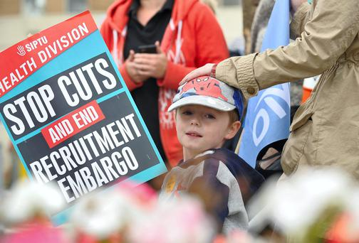 4 year old Patrick Lennon from Drogheda pictured at the protest held outside Our Lady of Lourdes Hospital in Drogheda yesterday