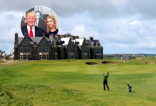 Doonbeg golf course and, inset, Donald Trump and his daughter Ivanka