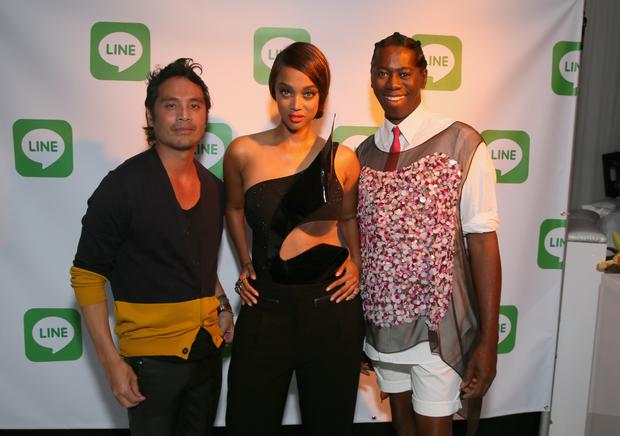 (L-R) Photographer Yu Tsai, model Tyra Banks and TV personality Miss J. Alexander attend America's Next Top Model Cycle 21 premiere party presented by NYLON and LINE at SupperClub Los Angeles