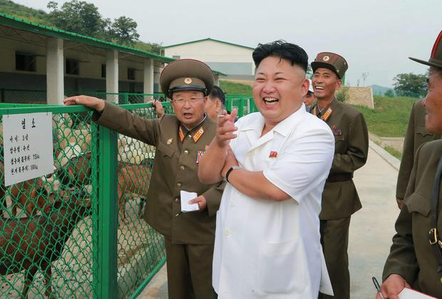 North Korean leader Kim Jong Un laughs during a visit to Breeding Station No. 621 of the Korean People's Army (KPA) in this undated photo released by North Korea's Korean Central News Agency (KCNA) in Pyongyang. REUTERS/KCNA NORTH KOREA