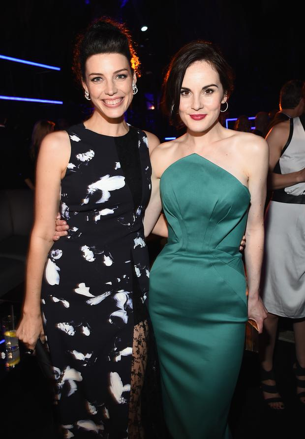 Actresses Jessica Pare (L) and Michelle Dockery attend Audi's Celebration of Emmys Week 2014 at Cecconi's Restaurant