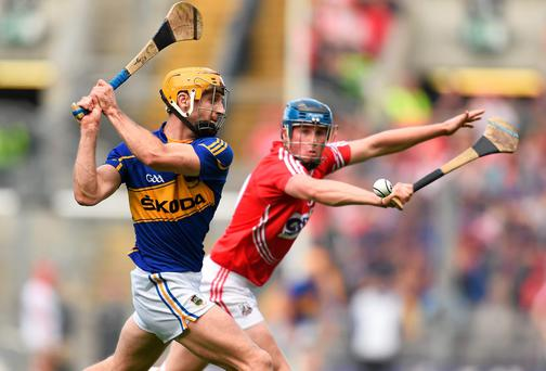 Kieran Bergin in action against Conor Lehane during Tipperary's 10-point victory over Cork which booked their All-Ireland final place against Kilkenny. Paul Mohan / SPORTSFILE