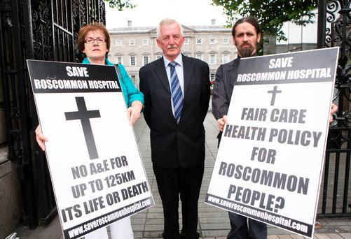 Cllr Valerie Byrne, John McDermott Chairman Roscommon Hospital Action Committee and Luke (Ming ) Flanagan TD outside Leinster house during a protest over Roscommon Hospital a number of years back. Photo: Gareth Chaney Collins