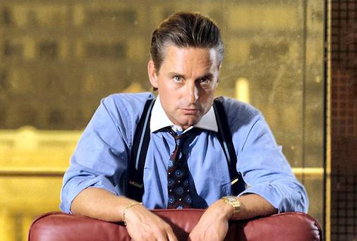 "Actor Michael Douglas is shown in his role as Gordon Gekko from the 1987 Oliver Stone film ""Wall Street"""