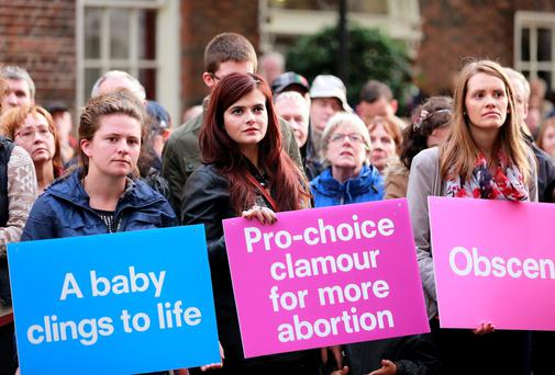 22/8/14 A vigil held by the Pro Life Campaign outside the Dail in Dublin. Picture:Arthur Carron