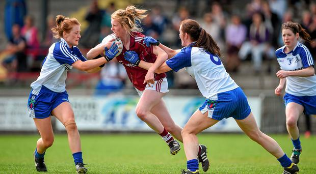 Louise Ward, Galway, in action against Nicola Fahey, left, and Amanda Casey of Monaghan
