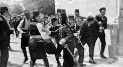 SARAJEVO 1914: The arrest of Gavrilo Princip after his assassination of Archduke Ferdinand and his wife Sophie