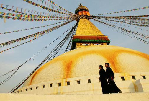 STUPENDOUS: The colossal stupa in Bodnath, which is symbolic of Buddha's path to enlightenment and has his all-seeing eyes on its tower, is said to house the bones of his skeleton
