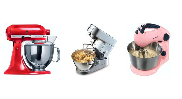 From left: KitchenAid Artisan Mixer 4.8L; Kenwood Classic Chef KM336; Breville 'Pick & Mix' VFP058