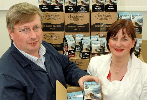 Michael and Aileen O`Neill of O'Neill's Irish Atlantic Sea Salt Flakes pictured at their production facility on the Beara Peninsula, West Cork