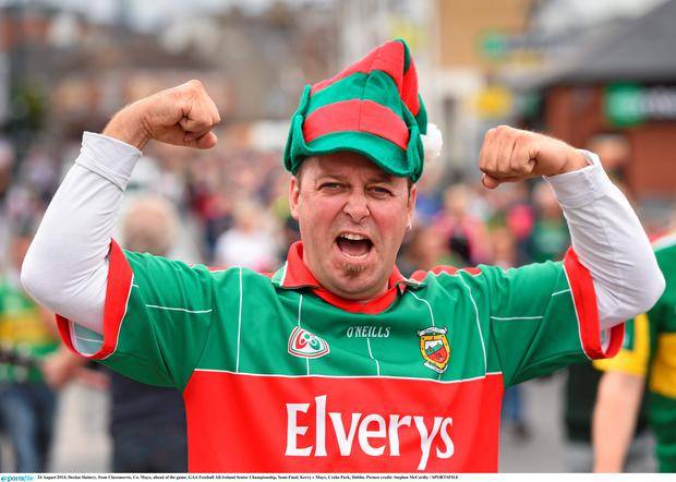 24 August 2014; Declan Slattery, from Claremorris, Co. Mayo, ahead of the game. GAA Football All-Ireland Senior Championship, Semi-Final, Kerry v Mayo, Croke Park, Dublin. Picture credit: Stephen McCarthy / SPORTSFILE