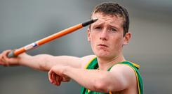24 August 2014; Dominic McCabe, Duleek, Co. Meath, during the Boys Under 14 Javelin. HSE Community Games August Festival 2014, Athlone Institute of Technology, Athlone, Co. Westmeath. Picture credit: David Maher / SPORTSFILE