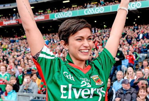 Rose of Tralee Maria Walsh at the Kerry v Mayo semi-final yesterday