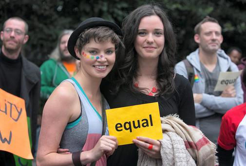 Sarah Jane Seymour from Meath & Emily Shackleton from Rathgar during a March for Marriage in Dublin's city Centre Photo: Gareth Chaney Collins