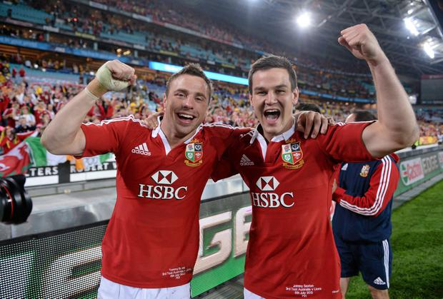 Tommy Bowe, left, and Jonathan Sexton, British & Irish Lions, celebrate victory over Australia. Picture credit: Stephen McCarthy / SPORTSFILE